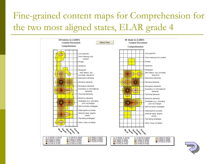 Fine-grained content maps for Comprehension for the two most aligned states, ELAR grade 4