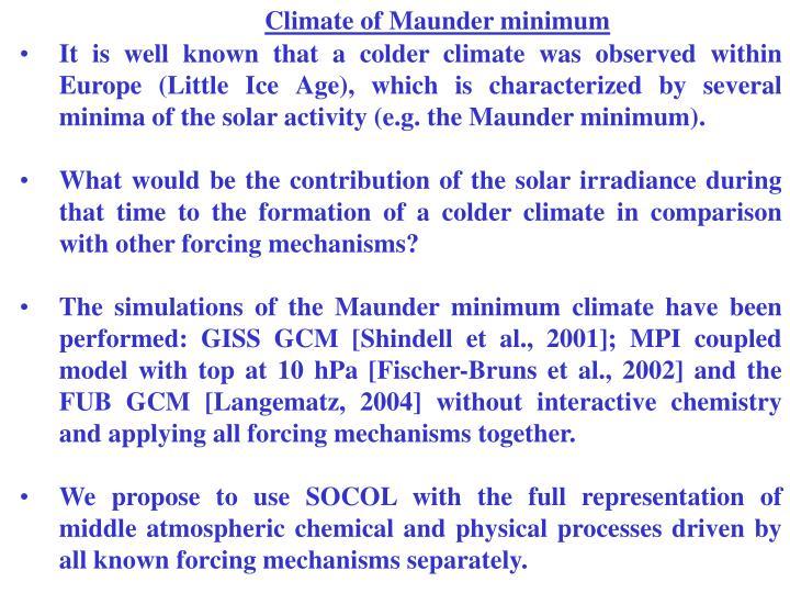 Climate of Maunder minimum