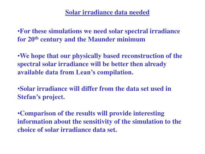 Solar irradiance data needed