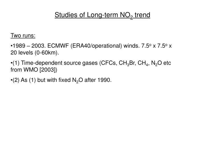 Studies of Long-term NO