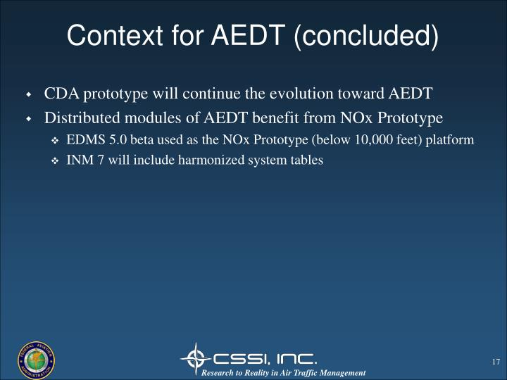 Context for AEDT (concluded)