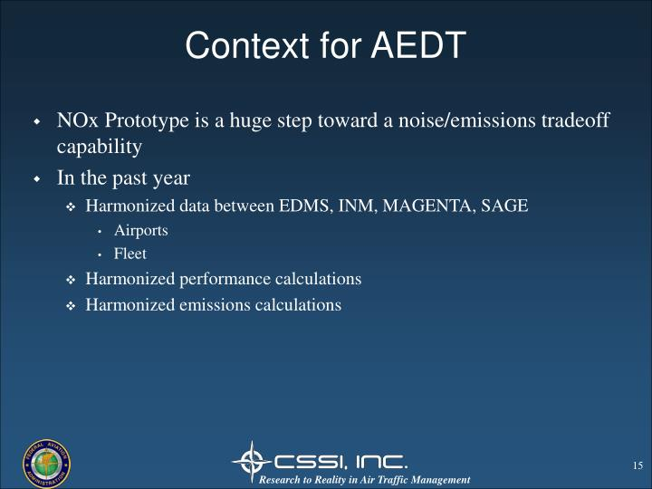 Context for AEDT