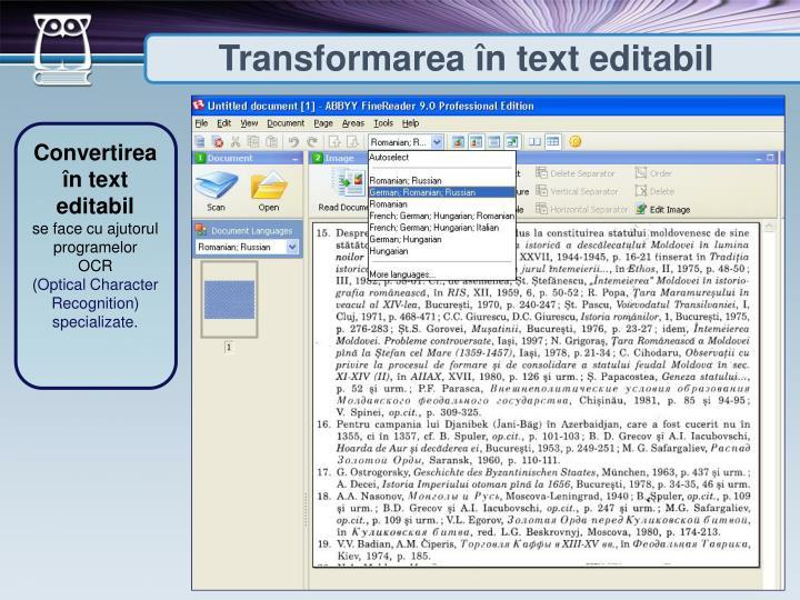 Transformarea în text editabil