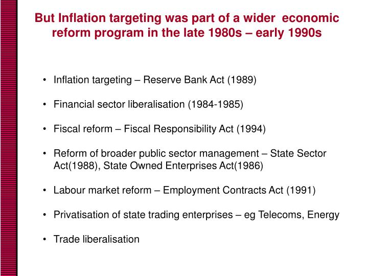 But Inflation targeting was part of a wider  economic reform program in the late 1980s – early 1990s