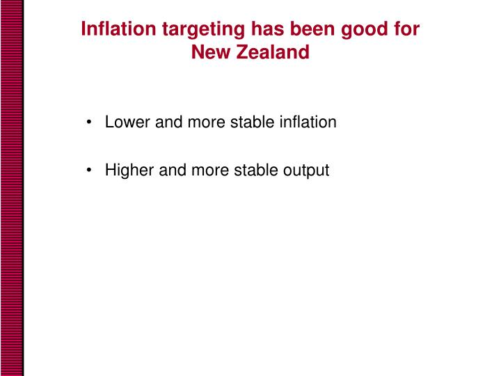 Inflation targeting has been good for new zealand