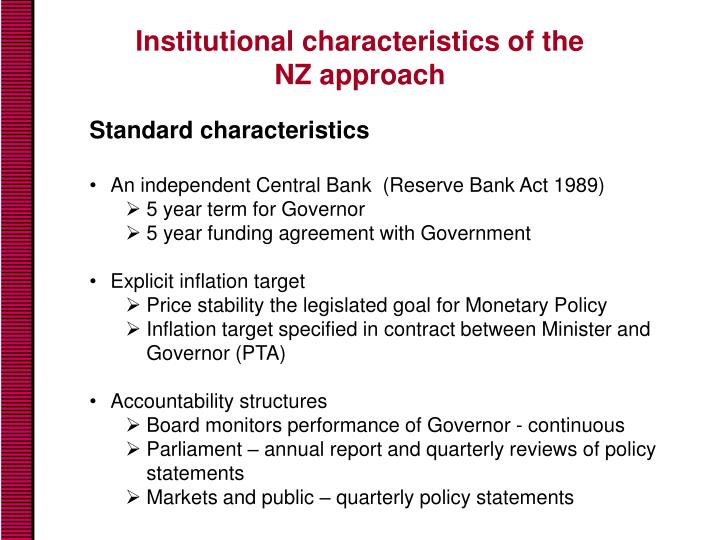 Institutional characteristics of the