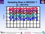 sampling bias in mozaic p 200 hpa