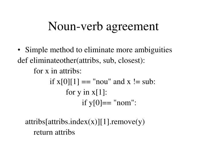 Noun-verb agreement