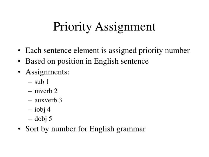 Priority Assignment