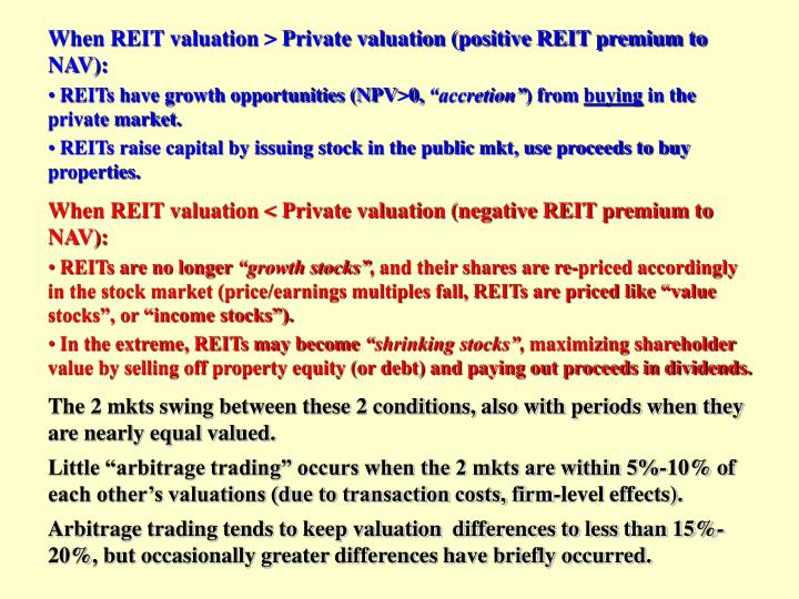 When REIT valuation > Private valuation (positive REIT premium to NAV):
