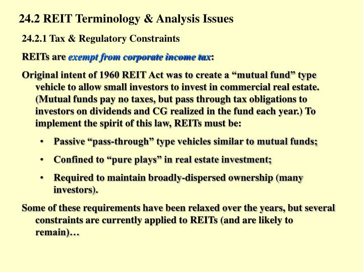 24.2 REIT Terminology & Analysis Issues