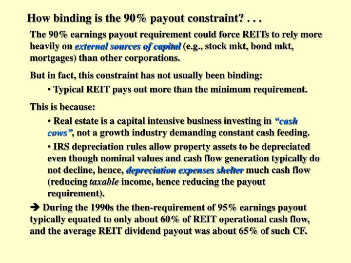 How binding is the 90% payout constraint? . . .