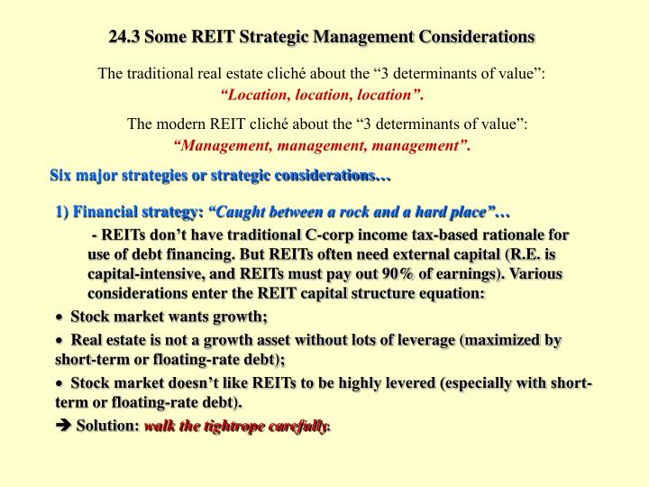 24.3 Some REIT Strategic Management Considerations