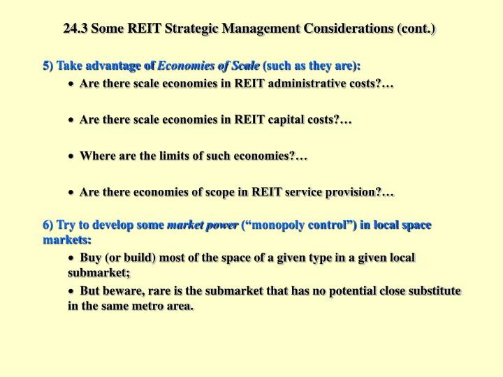 24.3 Some REIT Strategic Management Considerations (cont.)