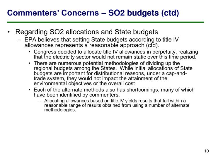 Commenters' Concerns – SO2 budgets (ctd)
