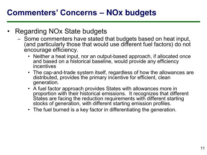 Commenters' Concerns – NOx budgets