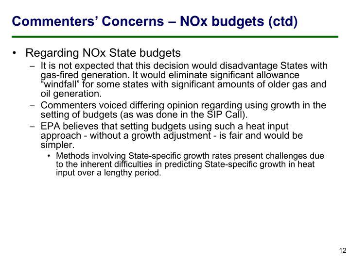 Commenters' Concerns – NOx budgets (ctd)