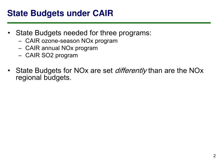 State Budgets under CAIR
