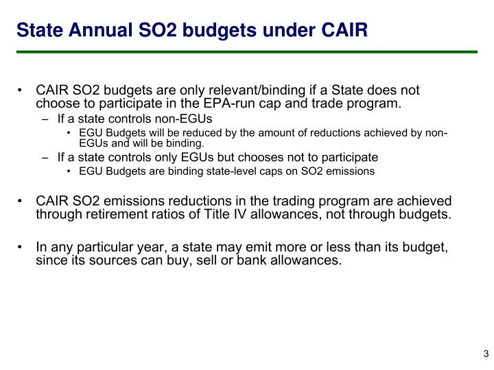 State Annual SO2 budgets under CAIR