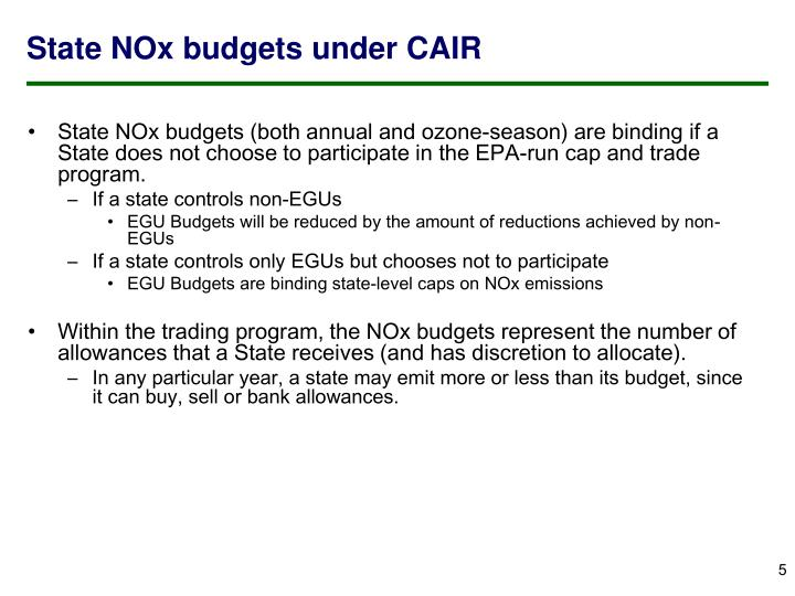 State NOx budgets under CAIR