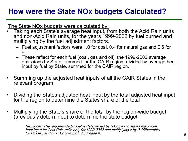 How were the State NOx budgets Calculated?