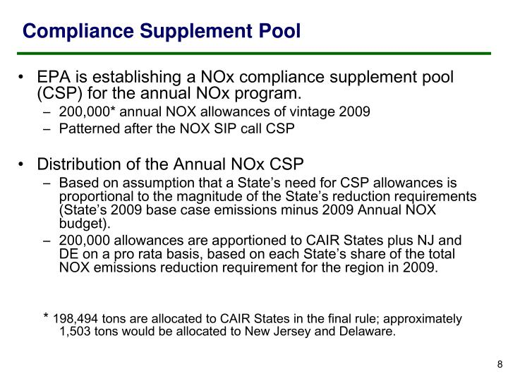 Compliance Supplement Pool