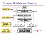 example the balanced scorecard