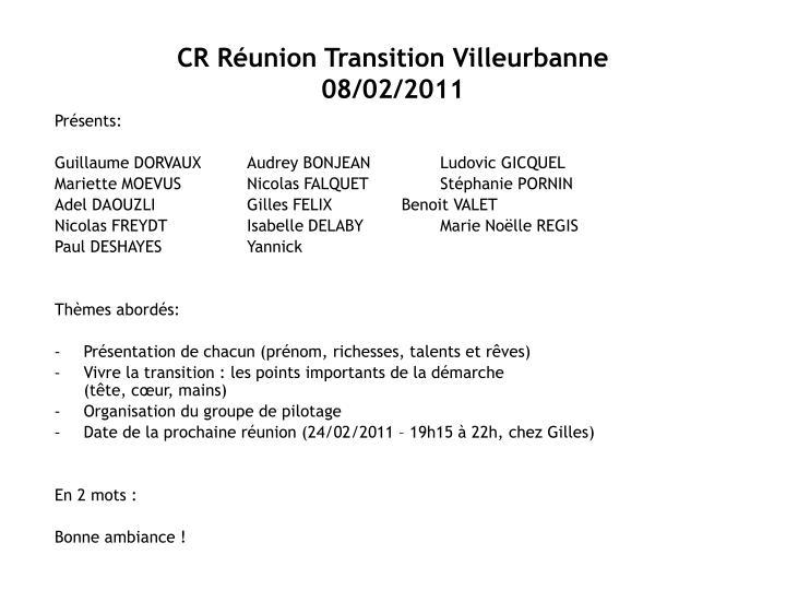 CR Réunion Transition Villeurbanne