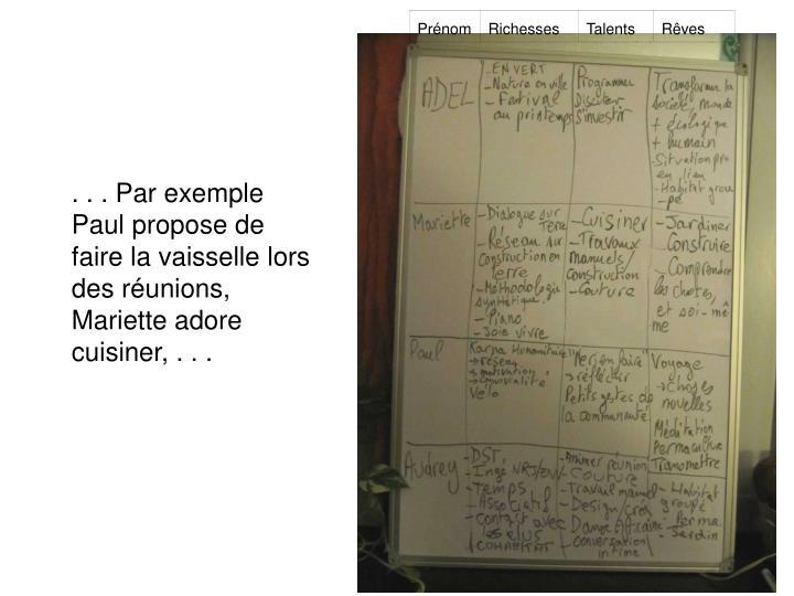 . . . Par exemple Paul propose de faire la vaisselle lors des réunions, Mariette adore cuisiner, . . .