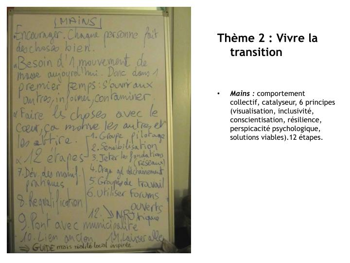 Thème 2 : Vivre la transition