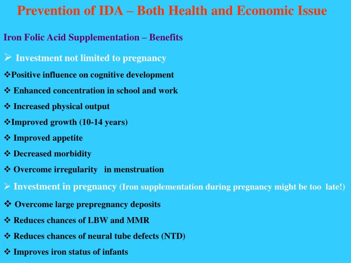Prevention of IDA – Both Health and Economic Issue