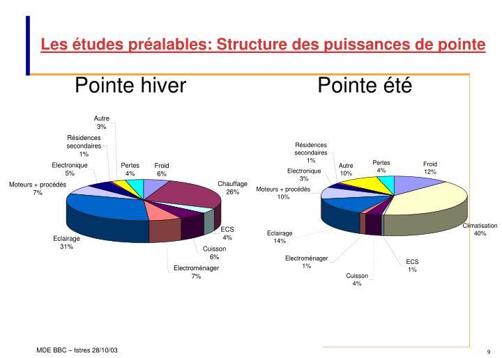 Les études préalables: Structure des puissances de pointe