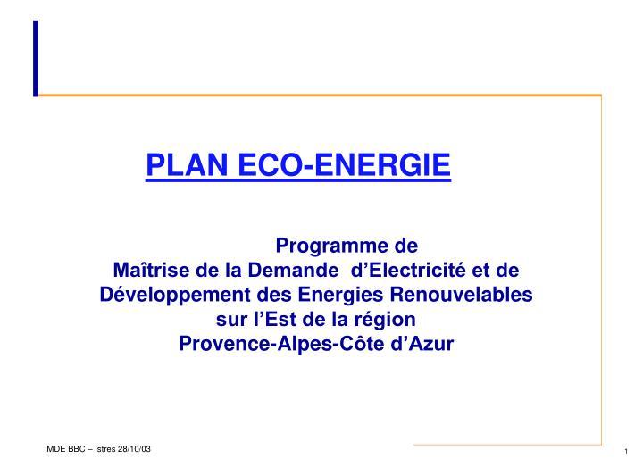 PLAN ECO-ENERGIE