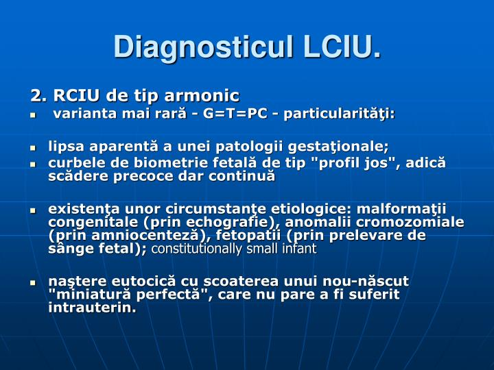 Diagnosticul LCIU.