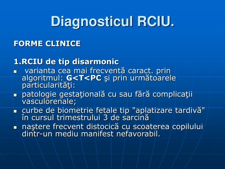 Diagnosticul RCIU.
