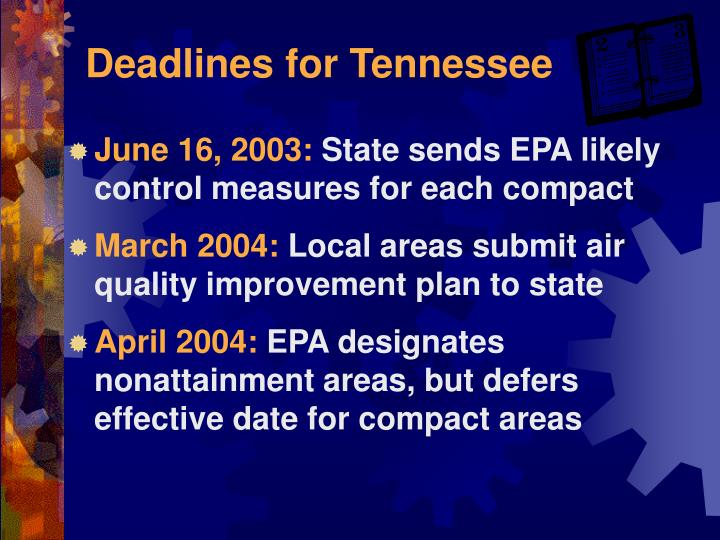 Deadlines for Tennessee