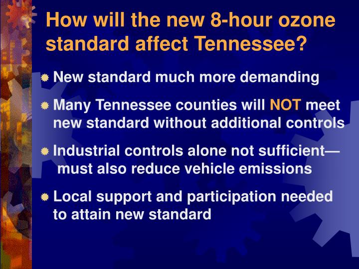 How will the new 8-hour ozone standard affect Tennessee?