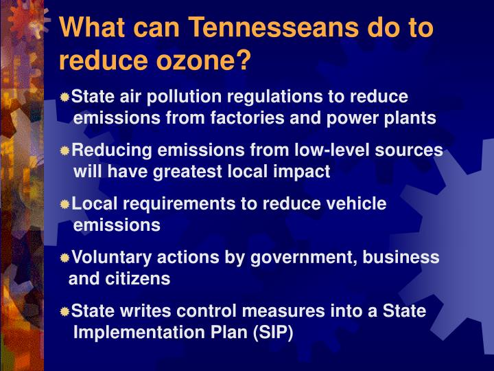 What can Tennesseans do to reduce ozone?