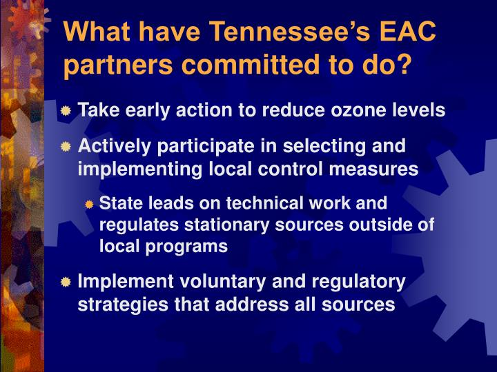 What have Tennessee's EAC partners committed to do?