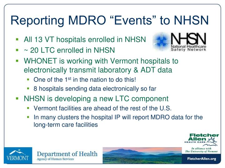 """Reporting MDRO """"Events"""" to NHSN"""