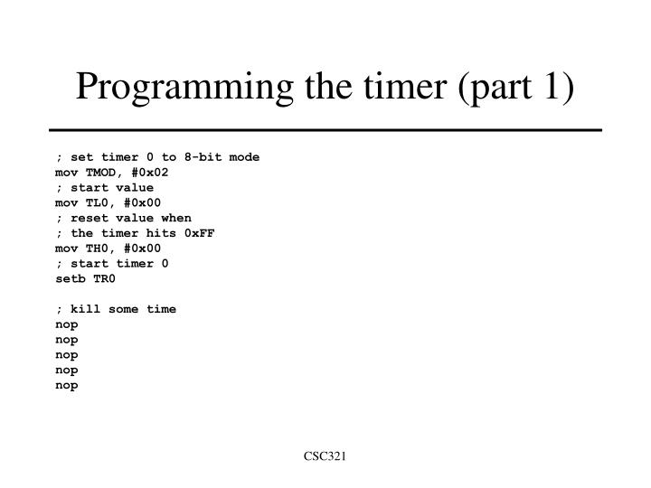 Programming the timer (part 1)