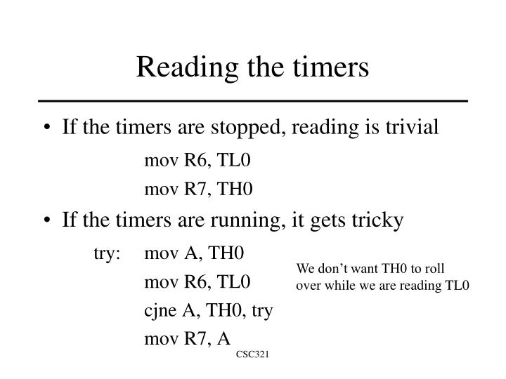 Reading the timers