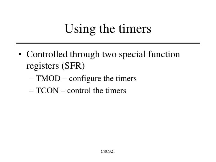 Using the timers