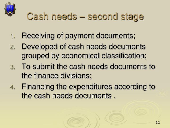 Cash needs