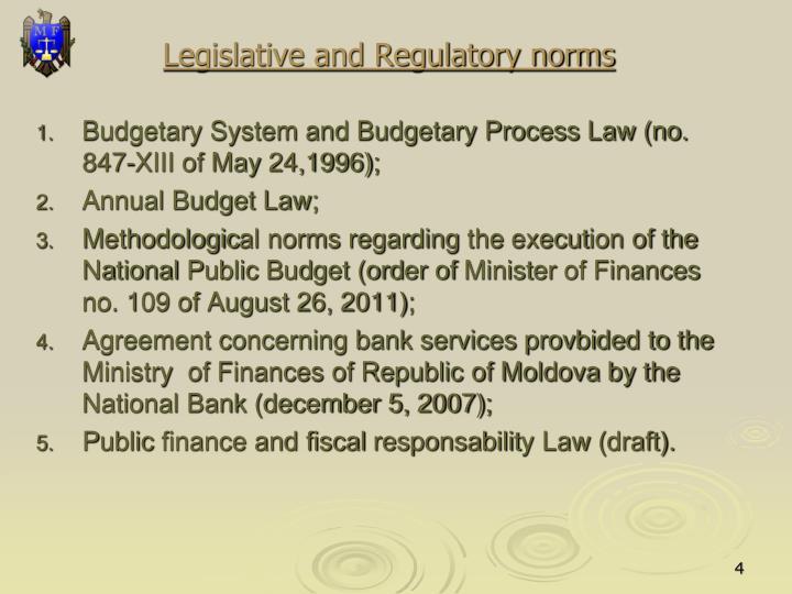 Legislative and Regulatory norms