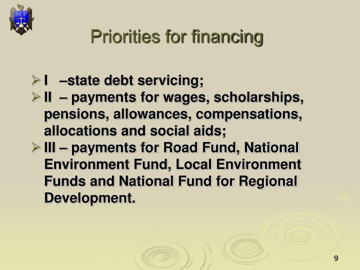 Priorities for financing