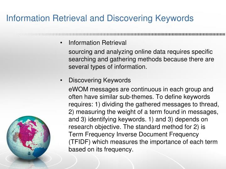 Information Retrieval and Discovering Keywords