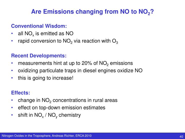 Are Emissions changing from NO to NO