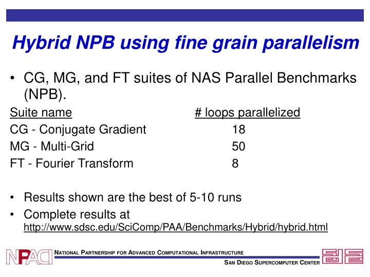 Hybrid NPB using fine grain parallelism
