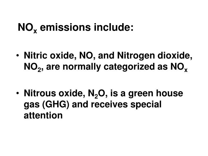 No x emissions include